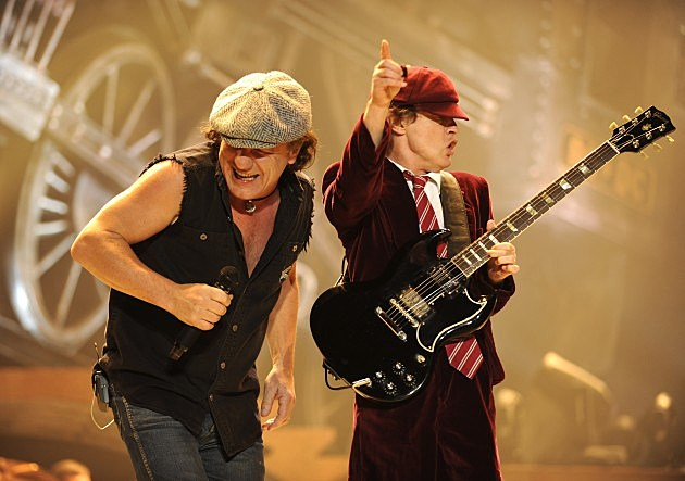 "AC/DC ""Black Ice"" Tour Opener on October 28, 2008 in Wilkes-Barre, Pennsylvania.  WILKES-BARRE, PN - OCTOBER 28:  Malcolm Young (L) and Angus Young of AC/DC perform during their ""Black Ice"" Tour Opener on October 28, 2008 in Wilkes-Barre, Pennsylvania."